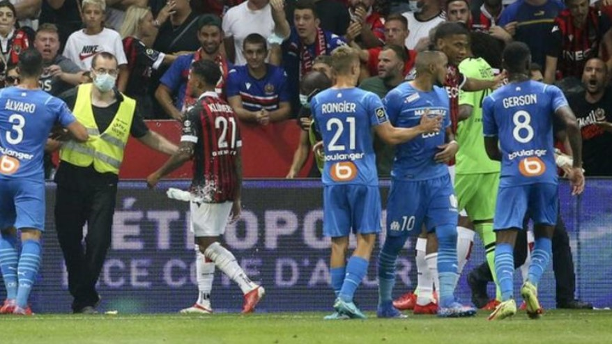 尼斯对马赛后四场比赛看台关闭而一名男子在争吵后被捕