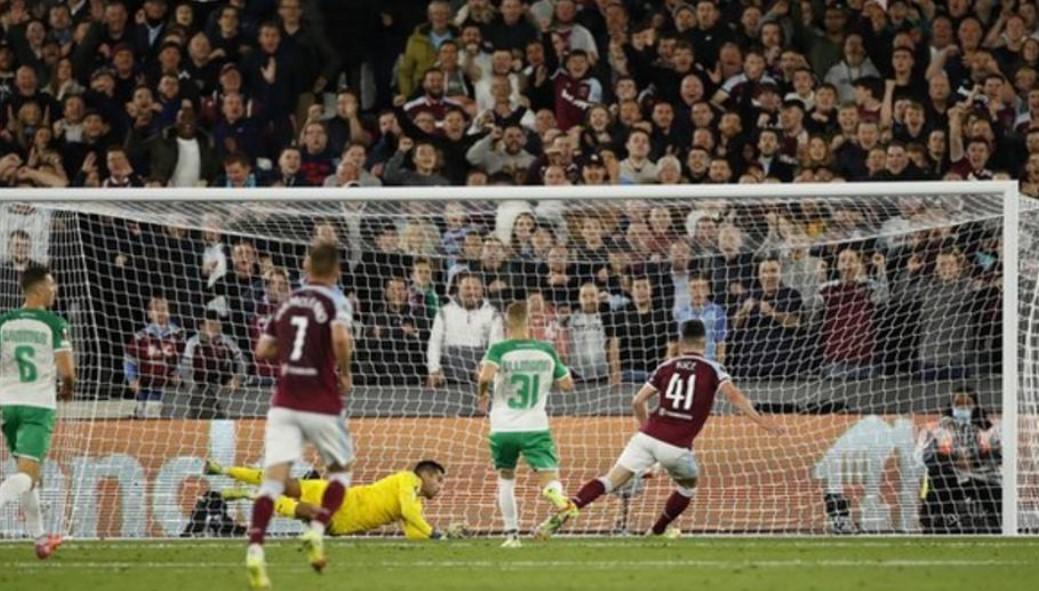 赖斯与莫哈默德的进球使西汉姆联在欧联杯中击败维也纳迅速足球会