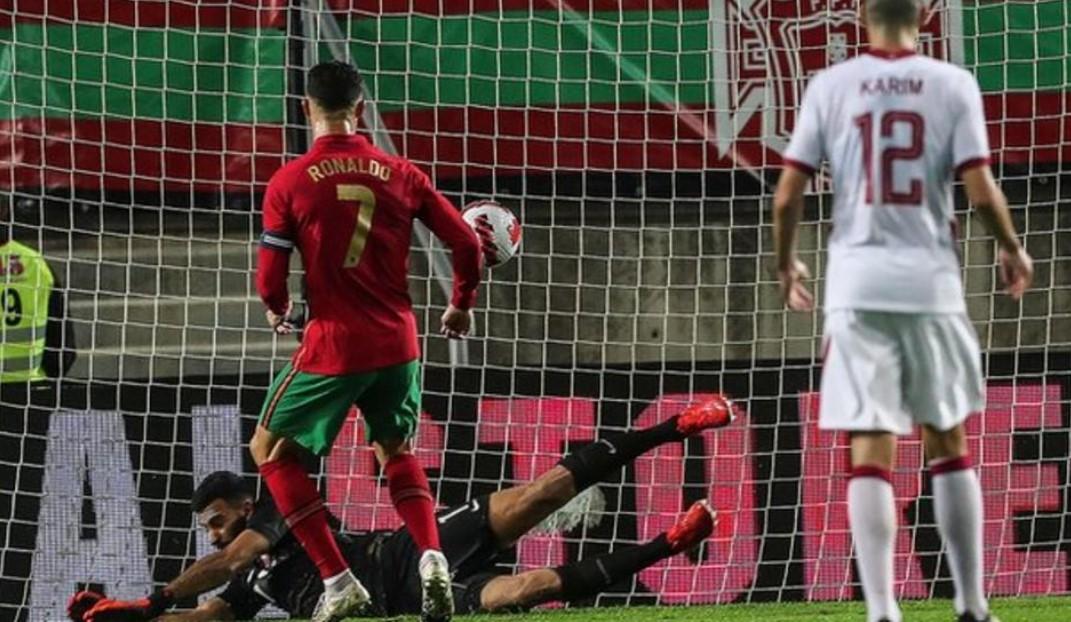 C罗在在与卡塔尔的友谊赛中攻进了他的第112个国际进球