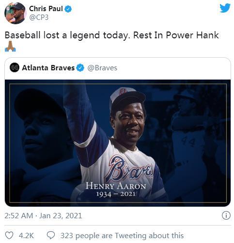 NBA家族对汉克.亚伦 (Hank Aaron)的死做出的反应