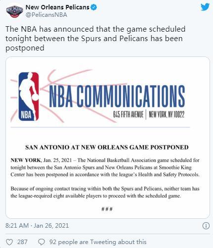 NBA推迟了圣安东尼奥马刺与新奥尔良鹈鹕的