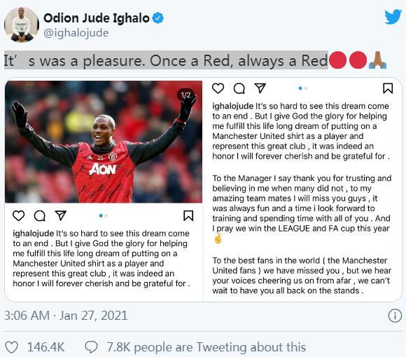 "Odion Ighalo因转会向""曼联""的粉丝道别,说道:""梦想引来了一个终点"""