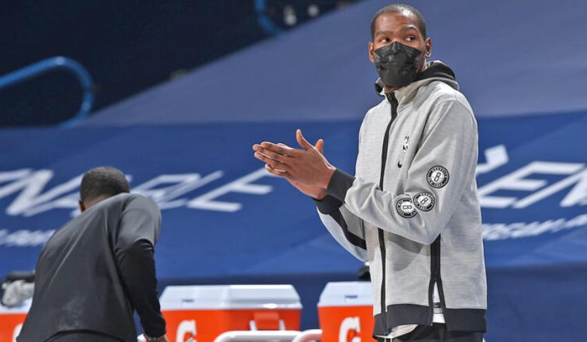 网队前锋凯文·杜兰特缺席俄克拉荷马城与篮网的对阵
