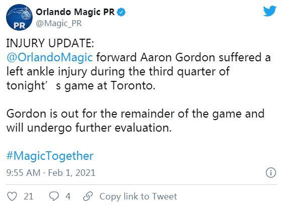 亚伦•戈登因脚踝受伤退出比赛