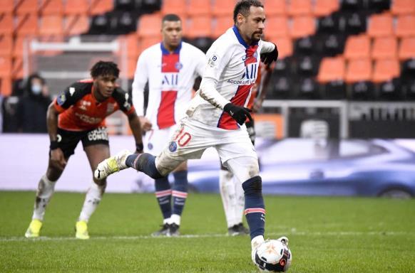 内马尔得分为禁区,但洛里昂在3-2失利最后时刻失球后震惊了PSG