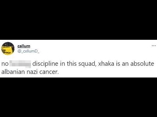 根据最近发布的报告,格拉尼特·扎卡从阿森纳季票持有者那里受到种族主义的虐待。