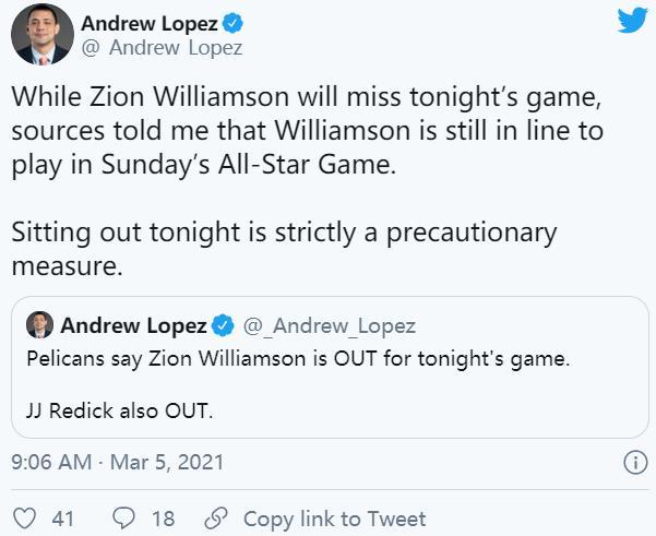 锡安·威廉姆森和J·J·雷迪克都将缺席与迈阿密热火的比赛中