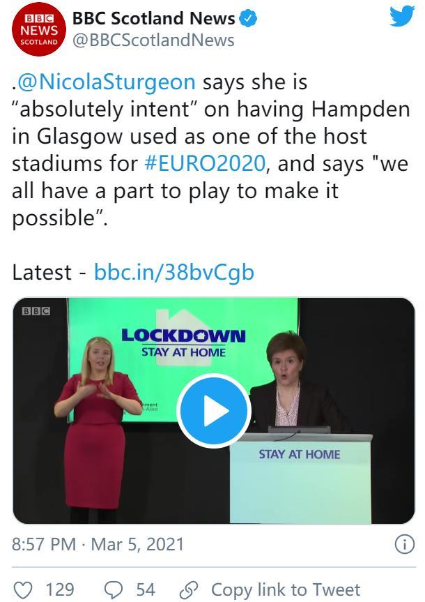 苏哥兰仍然很愿意举办2020年欧洲杯足球赛