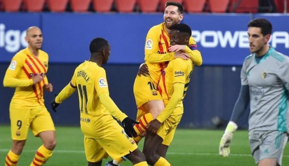 巴塞罗那击败了奥萨苏纳而缩小了于马德里竞技队