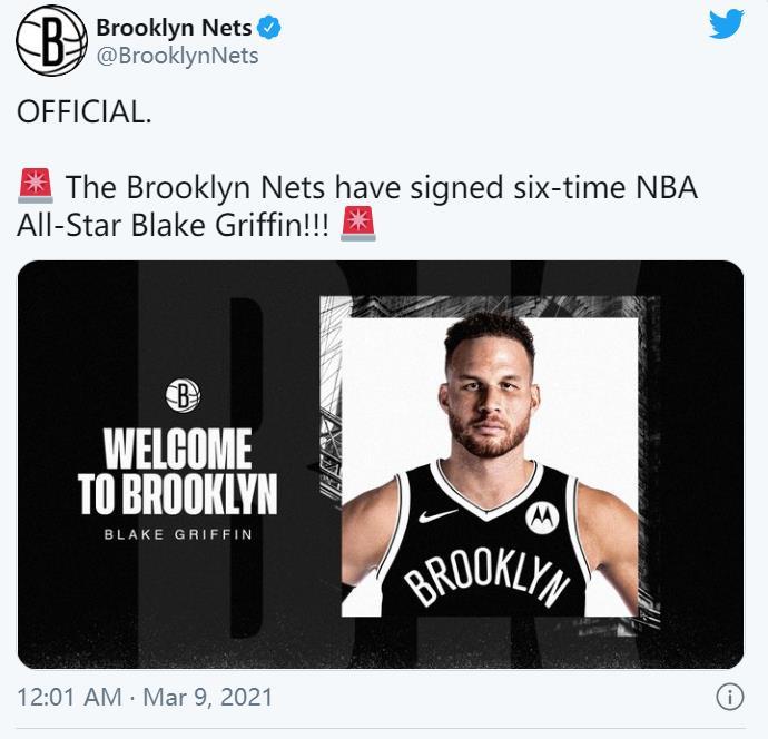 布莱克.格里芬正式签约于篮网队
