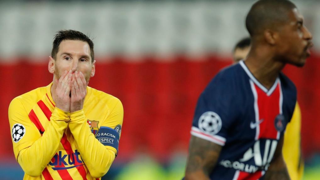 当巴塞退出冠军联赛时,莱昂内尔•梅西得分并错过点球