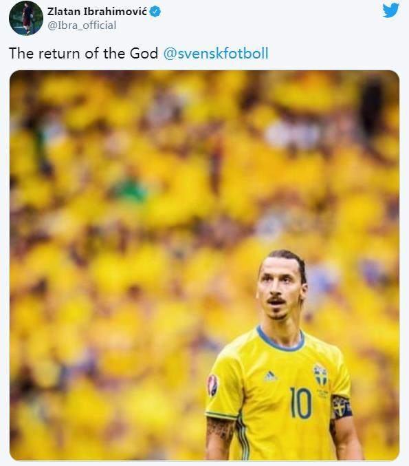兹拉坦•伊布拉西莫维奇从国际足球界退役五年后重返瑞典队