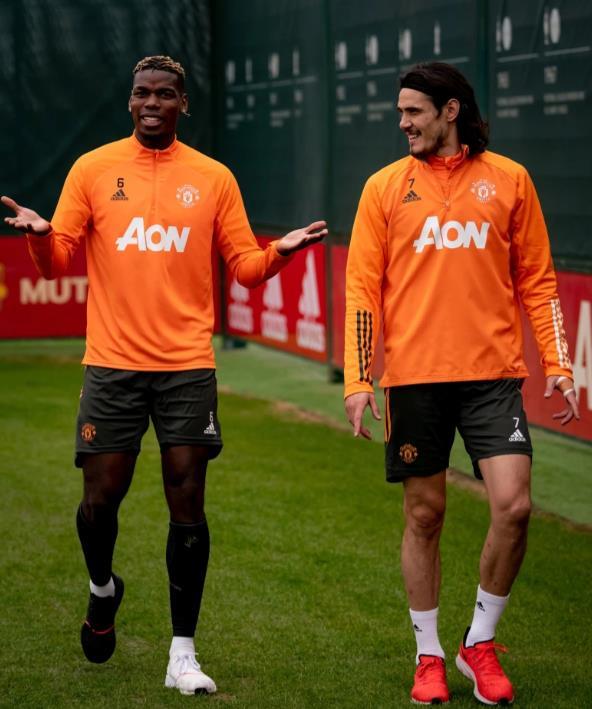 保罗•博格巴和埃丁森•卡瓦尼今日重返训练班,曼彻斯特联队获得了巨大的推动。