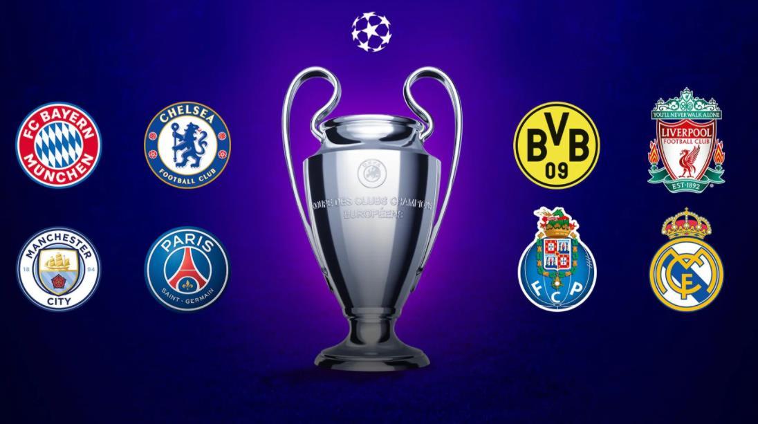 冠军联赛八强:拜仁、切尔西、多特蒙德、利物浦、曼联、曼城、巴黎、波尔图、皇家马德里