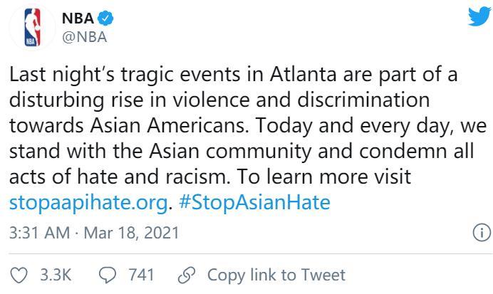 NBA球员对亚特兰大发生的悲剧事件做出回应,向亚裔社区表示支持