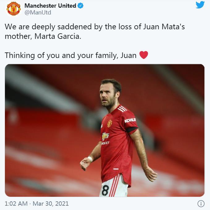 胡安•马塔的母亲马尔塔•加西亚因病去世