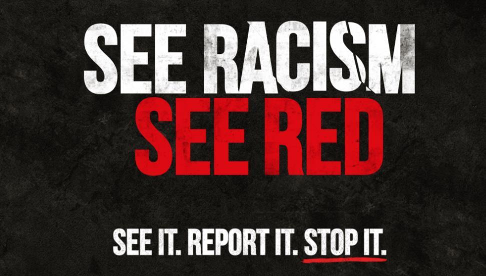 """曼联队发起""""See Red""""反歧视运动,以强调和制止各种形式的虐待"""