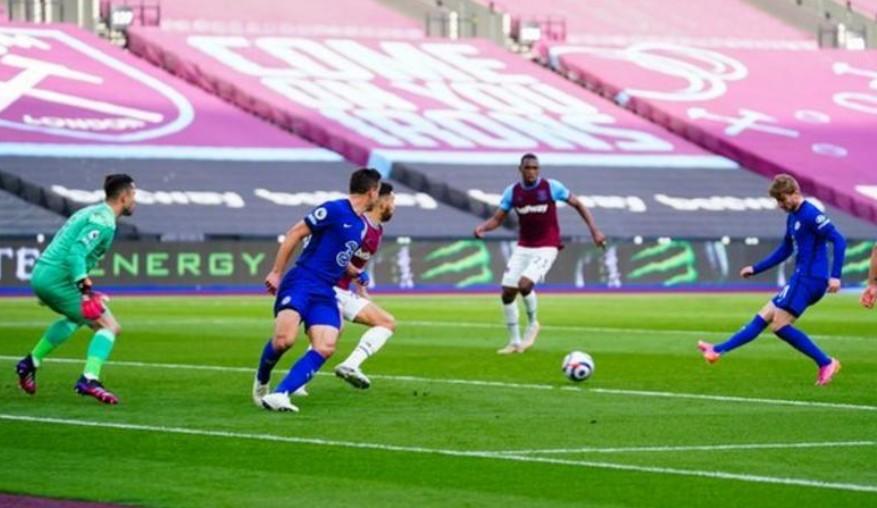切尔西以击败西汉姆联的胜利稳固了自己排名第四的位置