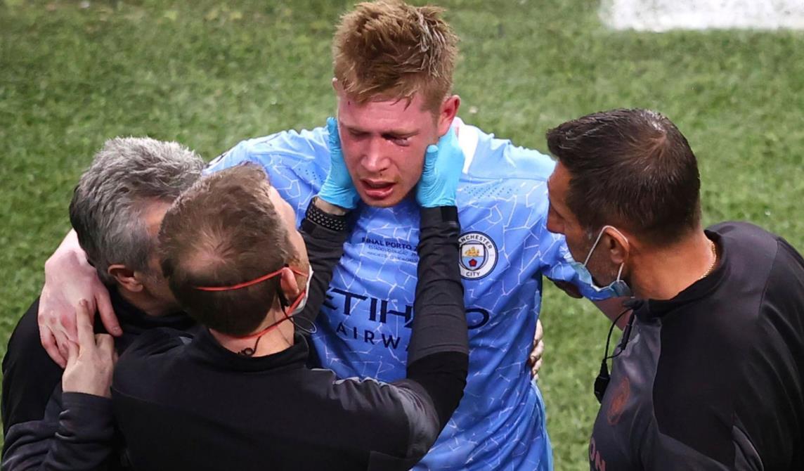 冠军联赛决赛失利期间,曼城中场球员的鼻子和左眶骨折