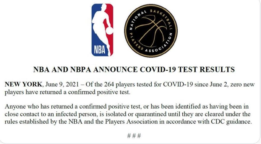 在最新的疫情结果中没有新球员的核酸检测报告是阳性