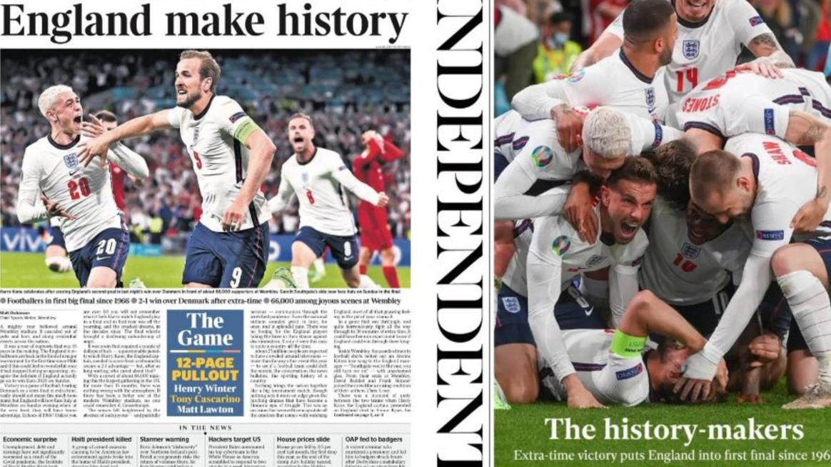 报纸上说:英格兰创造了历史——值得等待!