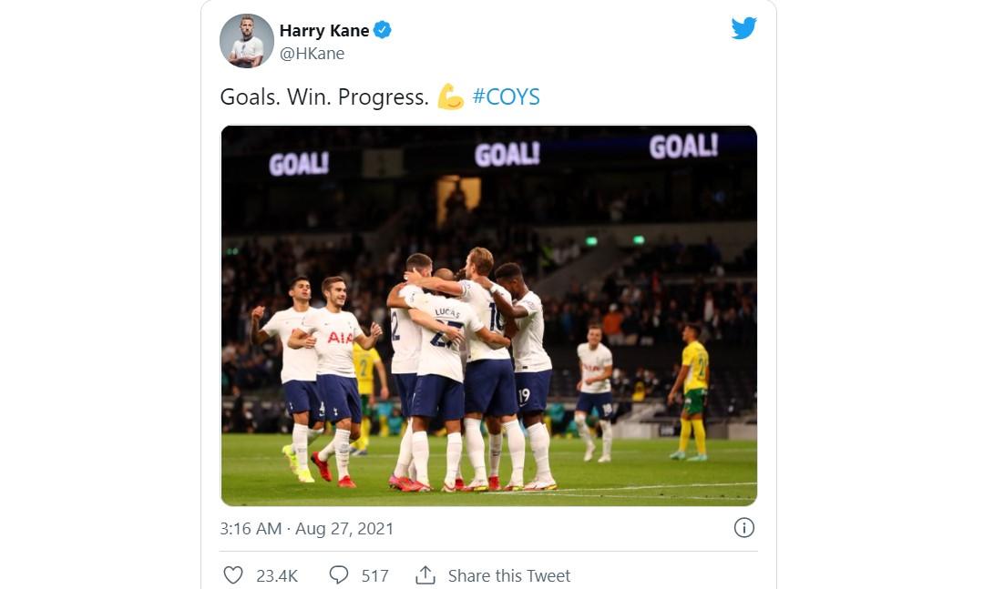 凯恩射进了两个球使热刺赢得了欧洲协会联赛小组赛阶段第二回合