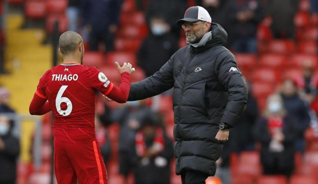 克洛普说蒂亚戈可以给利物浦更出色的比赛