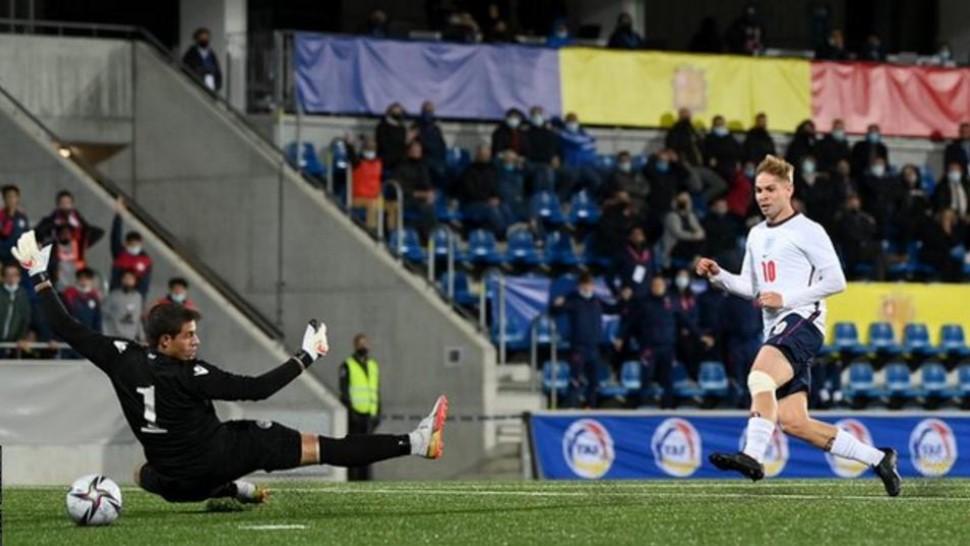 英格兰21岁以下足球代表队以微弱的优势战胜了安道尔